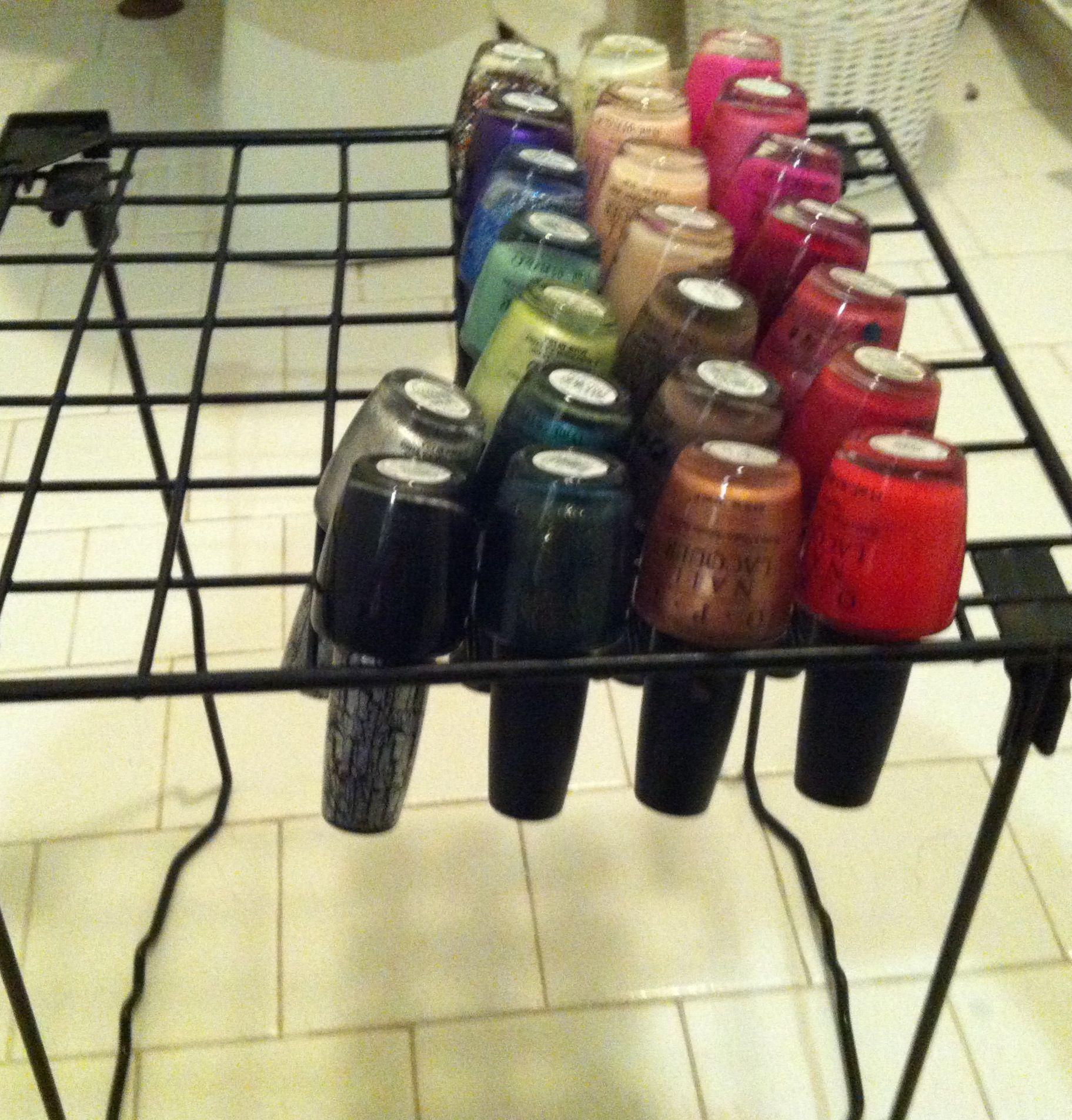 Use An Old Locker Shelf To Organize Nail Polish Nail Polish Storage Diy Dollar Store Diy Diy Nail Polish