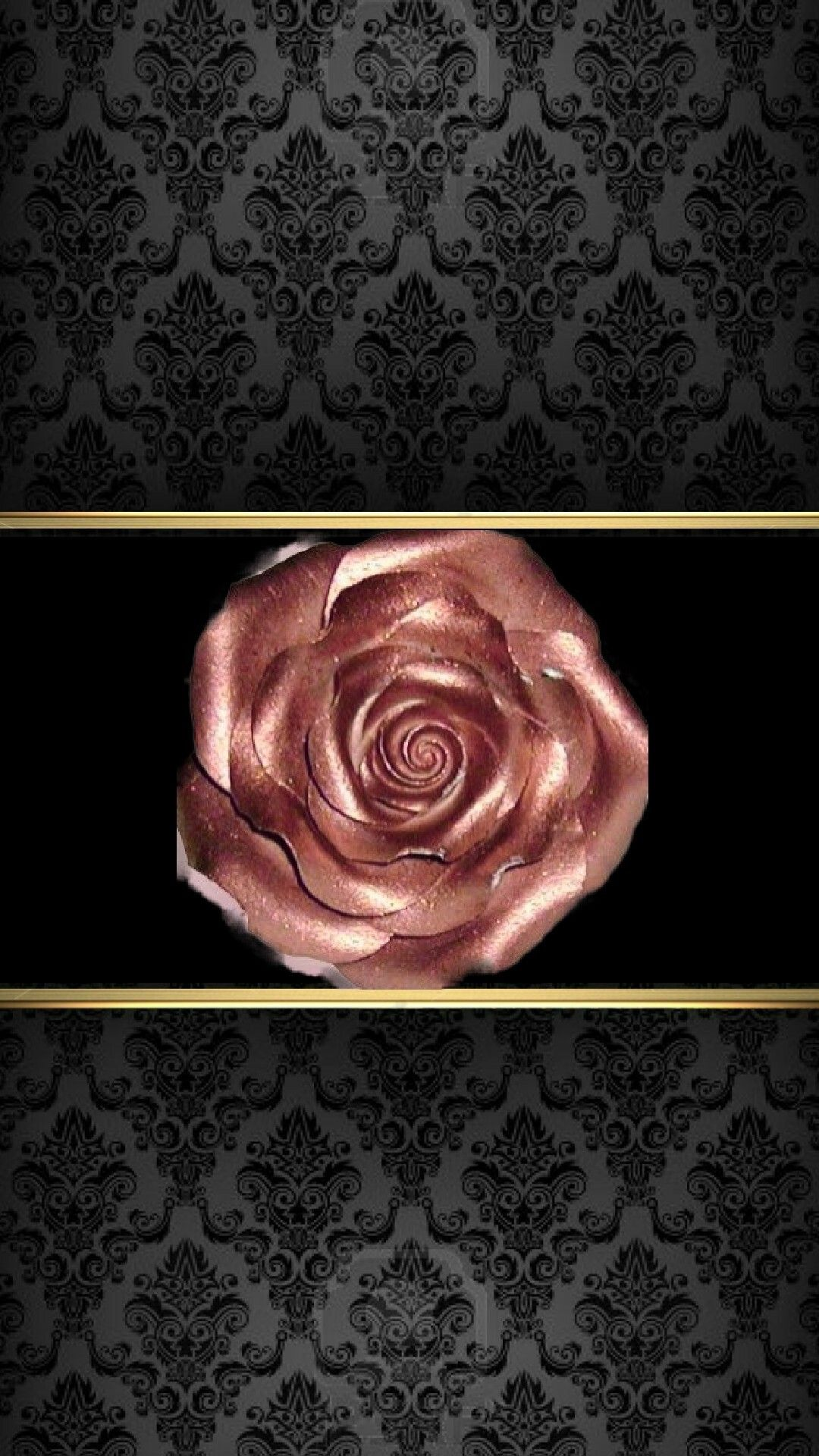Black,Gold & Rose Gold Wallpaper...By Artist Unknown