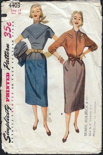 Vintage 1950s Shift Dress with Kimono Sleeve Jacket Simplicity 4403