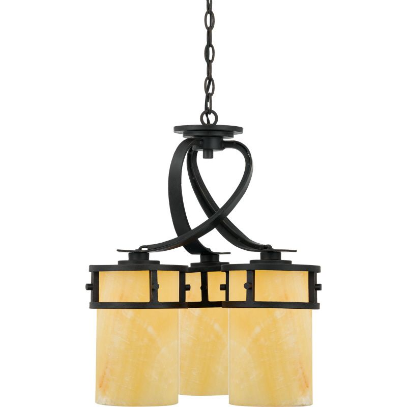 Quoizel Kyle Chandelier KY5103IB - great room coffered ceiling