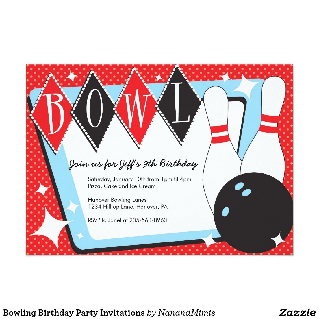 Bowling Birthday Party Invitations | bowling party | Pinterest ...