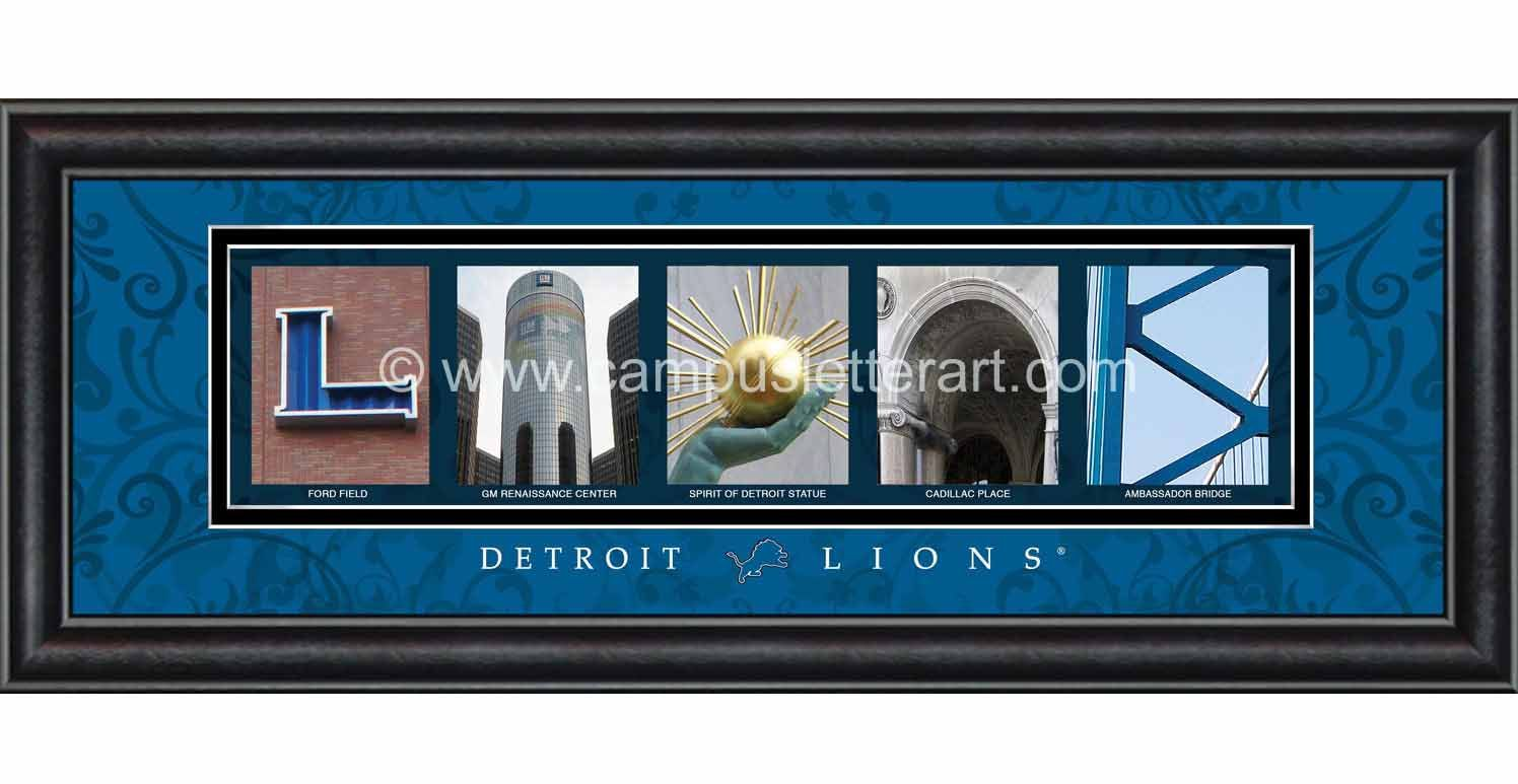 Detroit Lions Letter Art features individual photos of buildings, sculptures or landmarks from around the city. A caption is below each photo showing where it was taken. Expertly framed with a crystal-clear shatterproof front, this unique product arrives ready to hang in any room of the home or office. All prints are fully licensed by the NFL $49.99