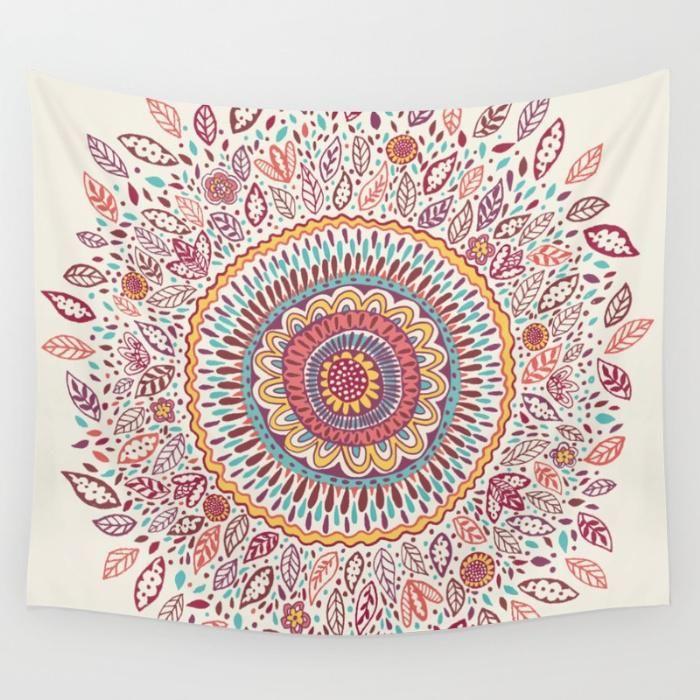Sunflower Mandala Wall Tapestry by Janet Broxon