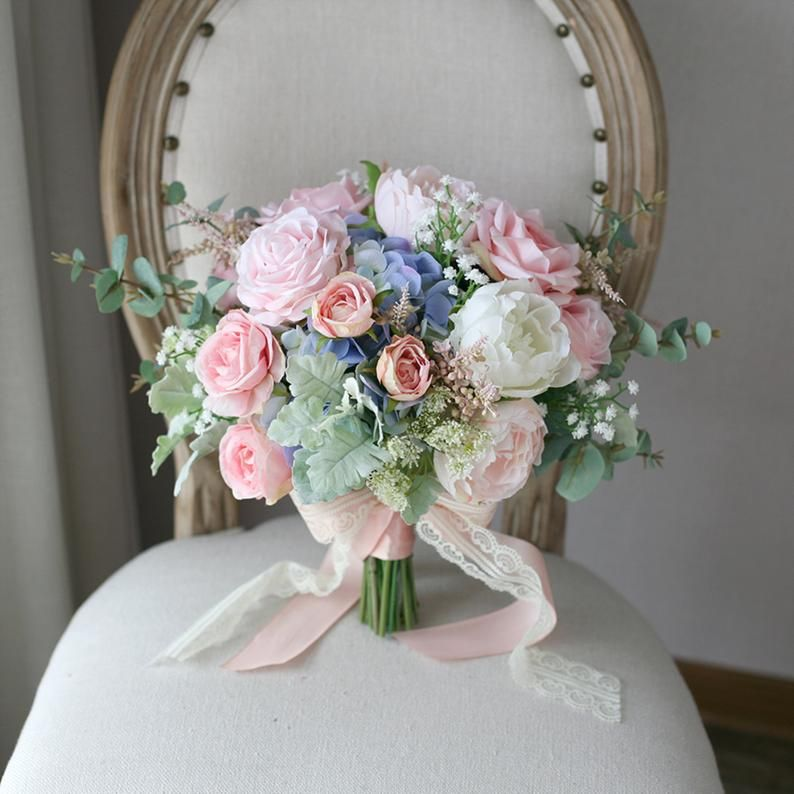 Bridal Bouquet,Blush Pink and Pale Blue Classic Wedding Bouquet, Rustic Boho Flower Bouquet, Design in Rose Peony and Hydrangea