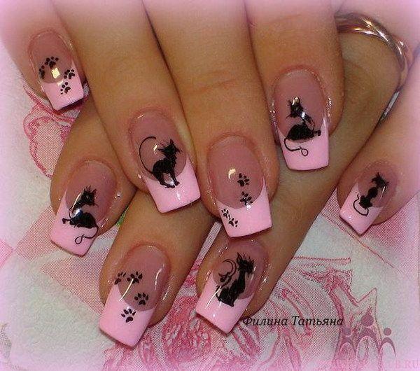 Pink Polish Tipped Kitties Manicure.