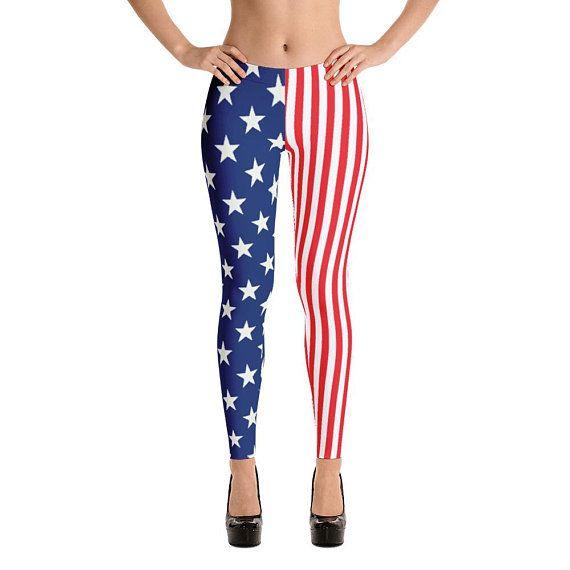 ab8e3819423e American Flag Patriotic 4th of July Spandex Yoga Leggings Tights Stars  Captain America Avengers Supe