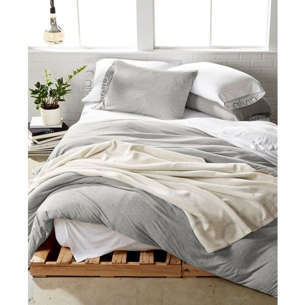 Calvin Klein Modern Cotton Body Full/Queen Duvet Cover ($175) ❤ liked on Polyvore featuring home, bed & bath, bedding, duvet covers, grey, calvin klein, cotton bed linen, gray modern bedding, gray bedding and modern bedding