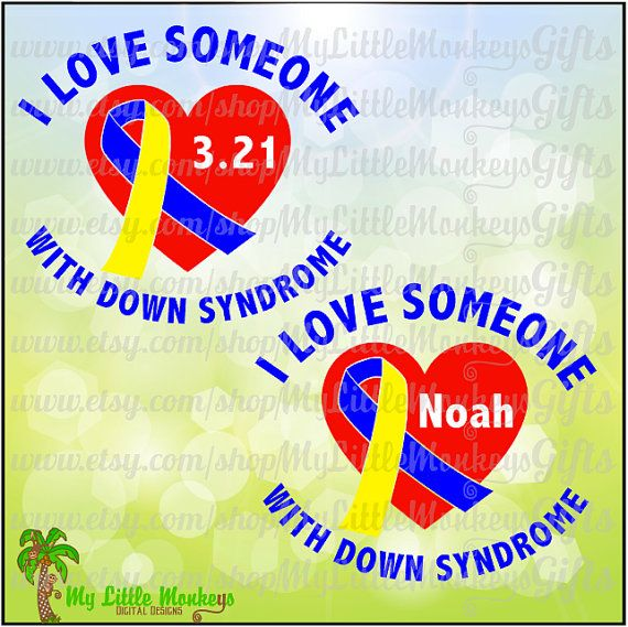 I Love Someone With Down Syndrome Heart Awareness Ribbon Design