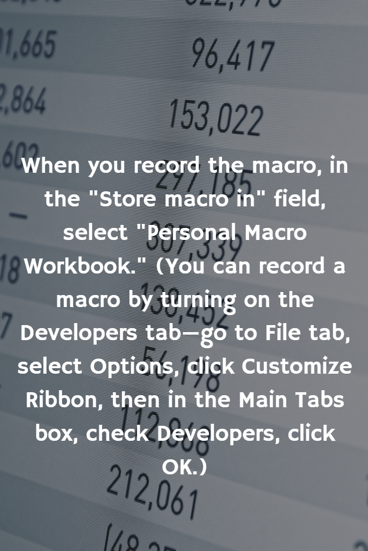 When you create a macro, it is tied to the workbook it was created in. However, if you store the macro in Personal.XLSB, it'll be available all the time.  #SummitCollege #ExcelTips