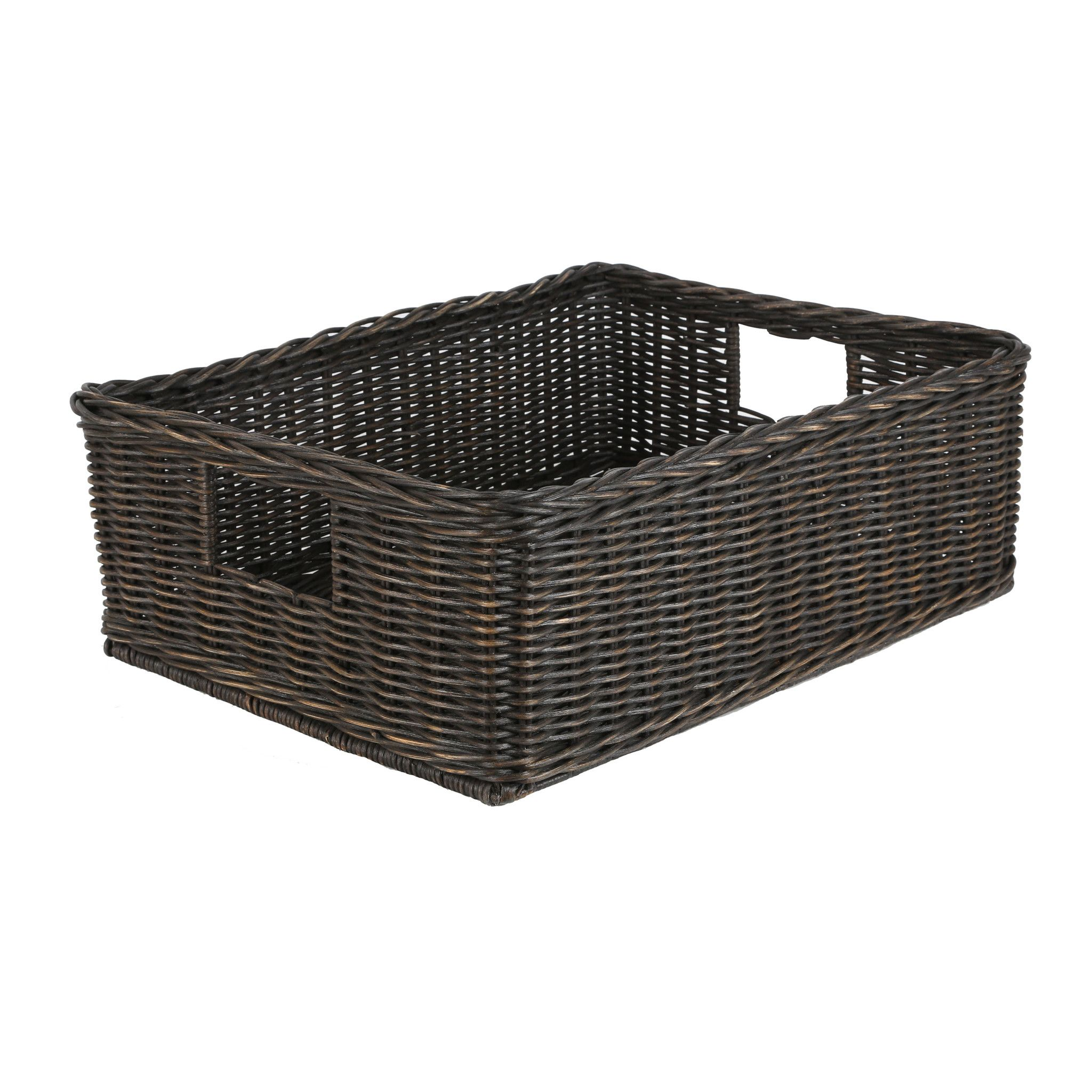 Home underbed storage baskets wicker underbed storage basket - The Basket Lady Underbed Wicker Storage Basket In Antique Walnut Brown Size L From The Basket