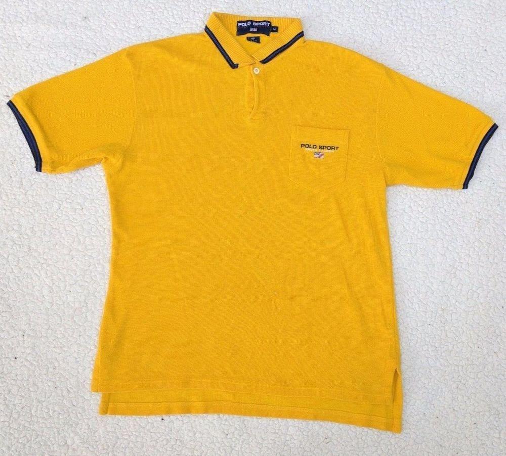 Vintage Polo Sport Ralph Lauren Short Sleeve Shirt Men s Medium M Yellow   PoloSport  PoloRugby c051b98ec8ced