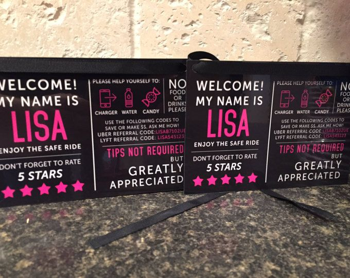 2 CUSTOM Uber and Lyft Tips & Rating Signs | lyft ideas