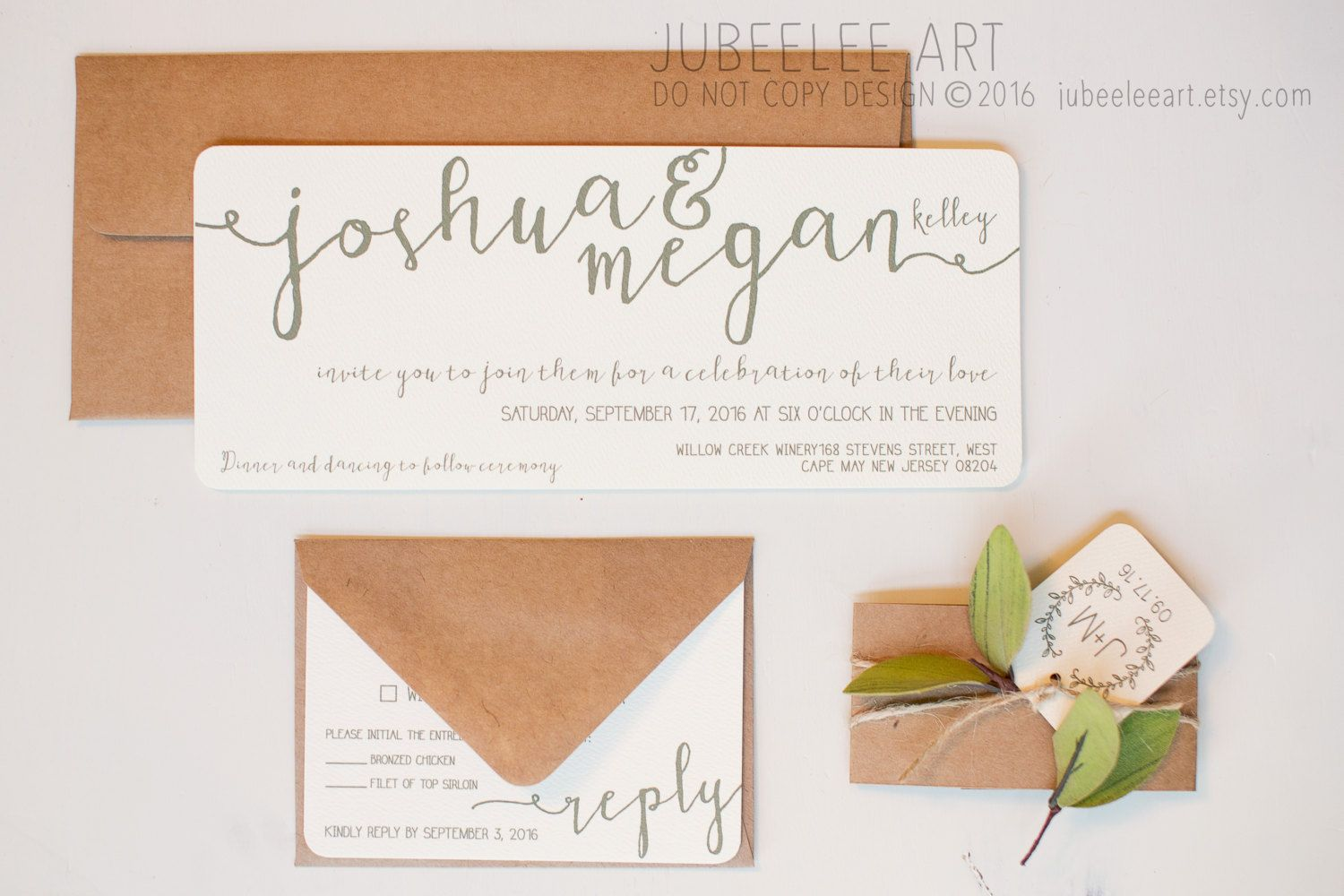 This invitation, sized to fit no.10 envelopes, is right on point with the modern calligraphy trend sweeping through the wedding industry. The bold names extend beyond the edge of the page creating an elegant, yet simple design. The colors on this design can be customized to coordinate with your wedding theme. This is a classic and timeless style that will surely wow your guests and set the tone for your wedding day, while simultaneously displaying the important details so guests will be…