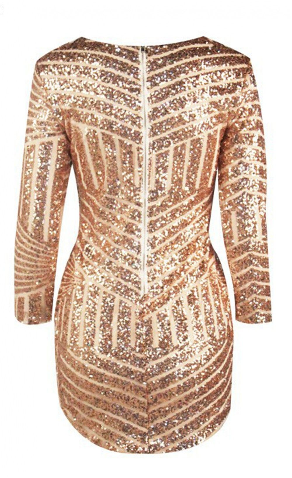 Rose gold long sleeve sequin mini dress ropcris pinterest