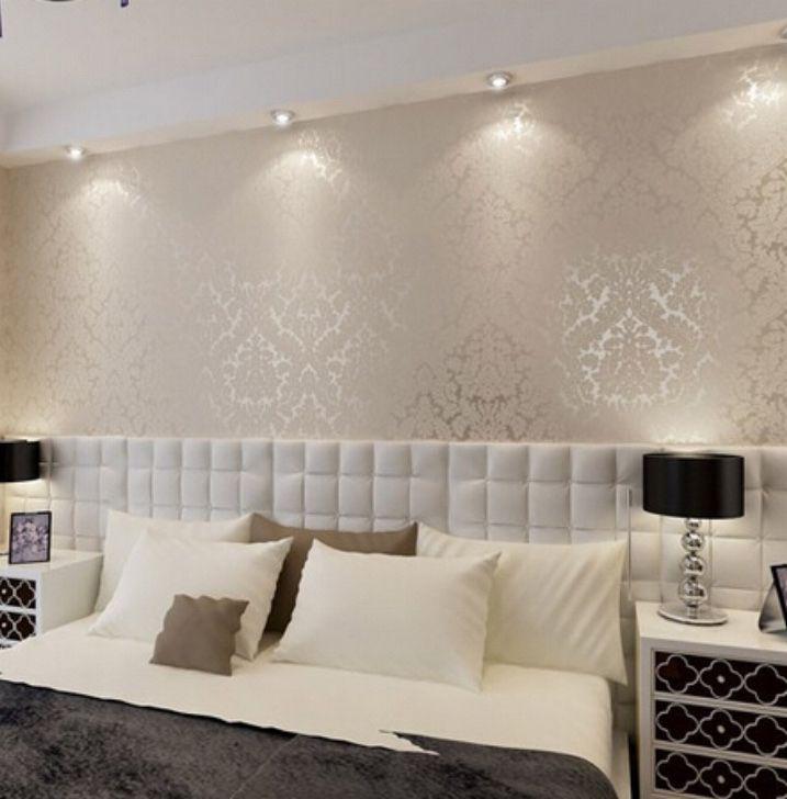 High end 10m luxury damask embossed textured wallpaper rollsgoldsilver white