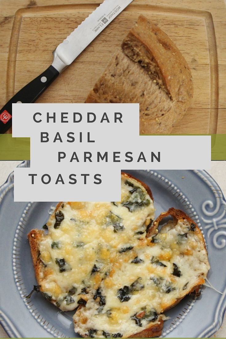 Cheddar Basil Parmesan Toasts make a quick, easy appetizer that's full of flavor! Use fresh basil and your choice of cheese!