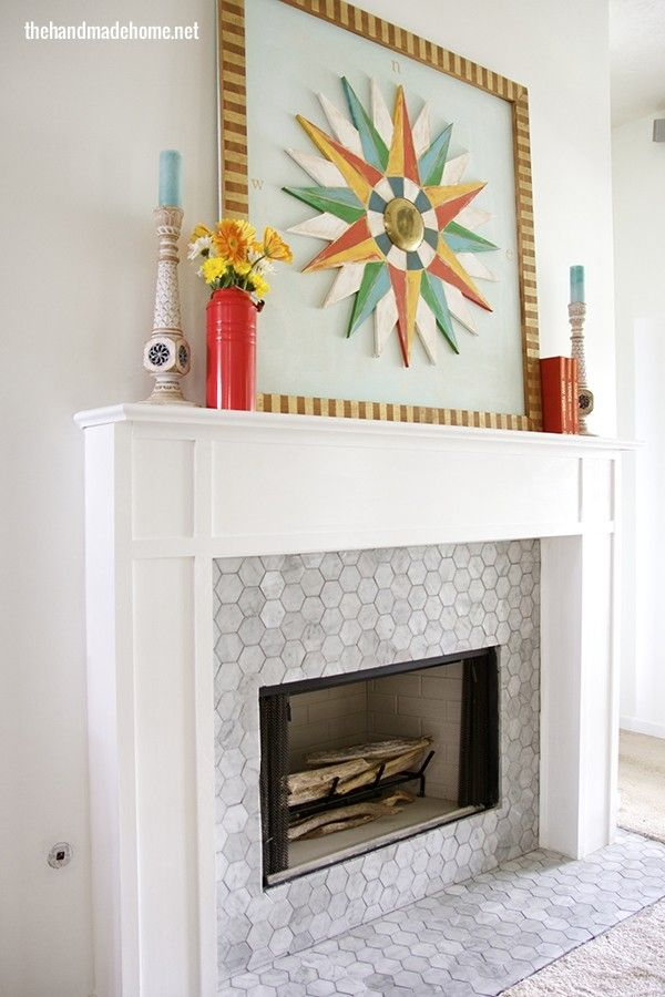 Mantel Makeover The Handmade Home Fireplace Tile Surround Fireplace Seating Classic Fireplace
