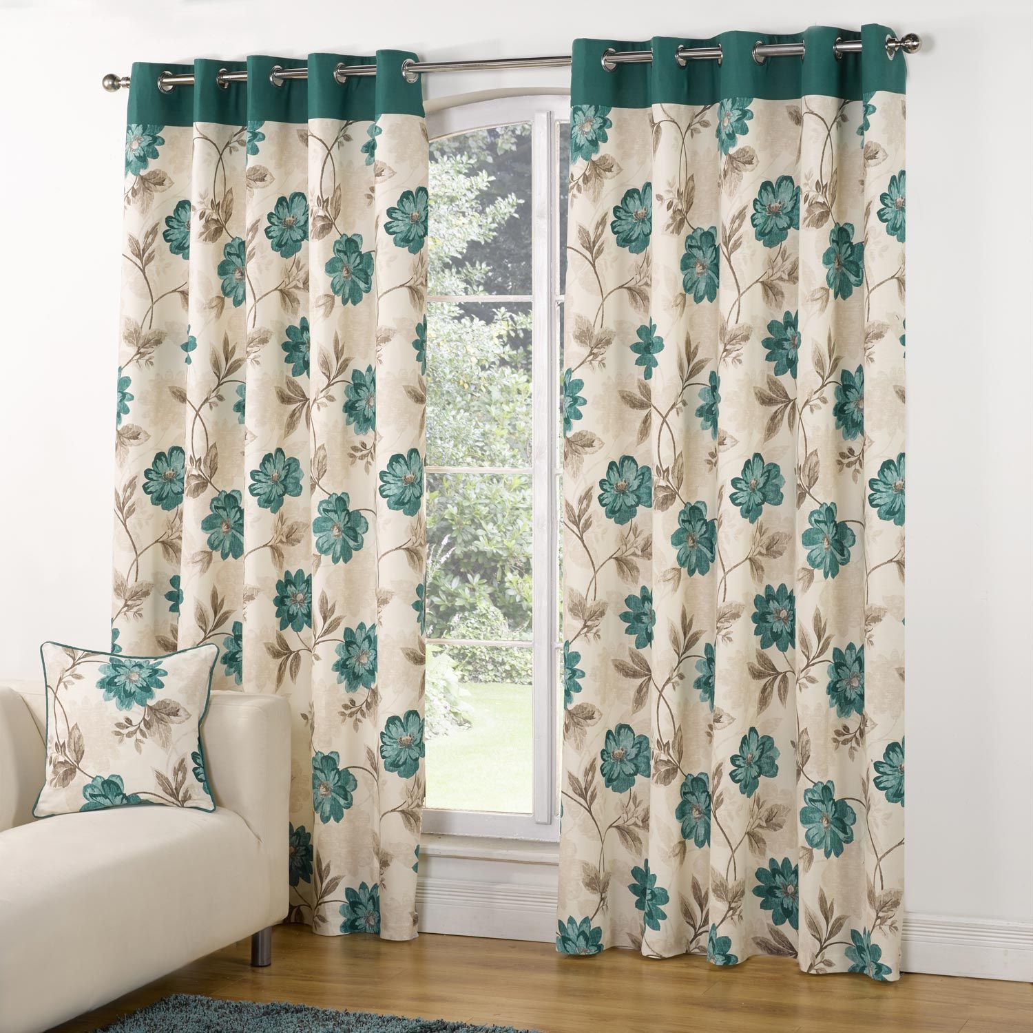 Modern Casa Floral Trail Print Lined Eyelet Curtains Teal - Teal ...