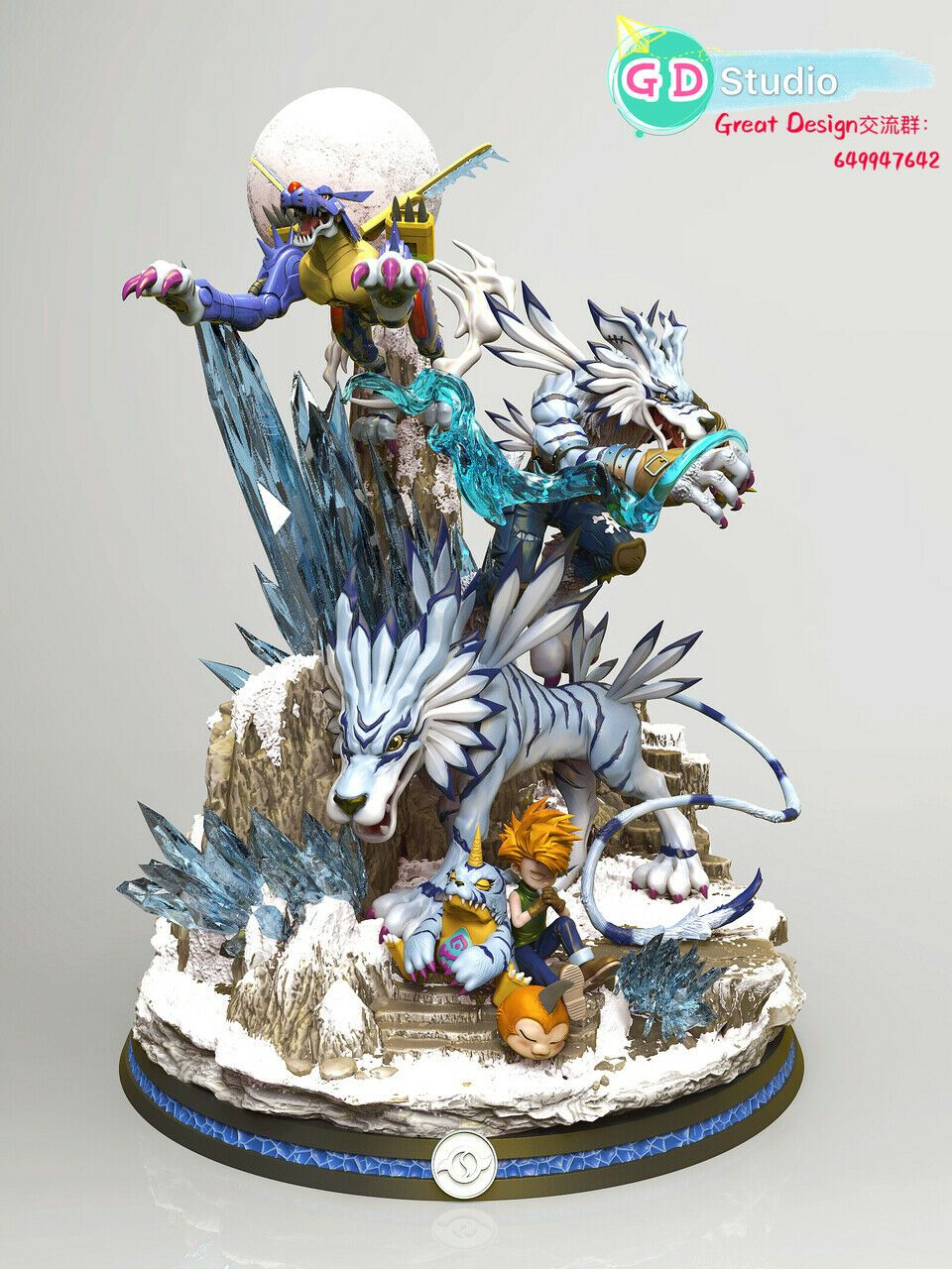 Digital Monster Great Design Studio Digimon Garurumon Resin Statue