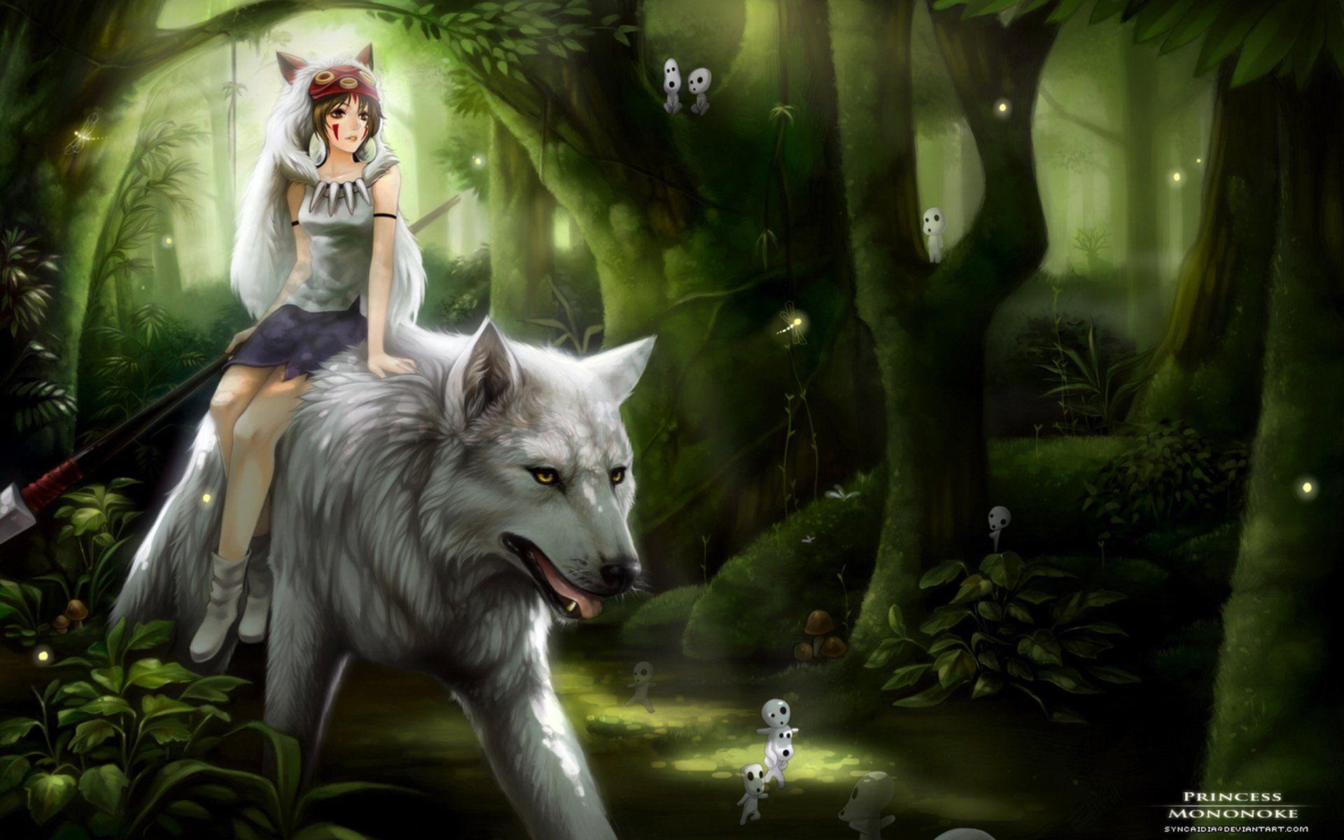 Movie Princess Mononoke Princess Forest Wolf Green Magic