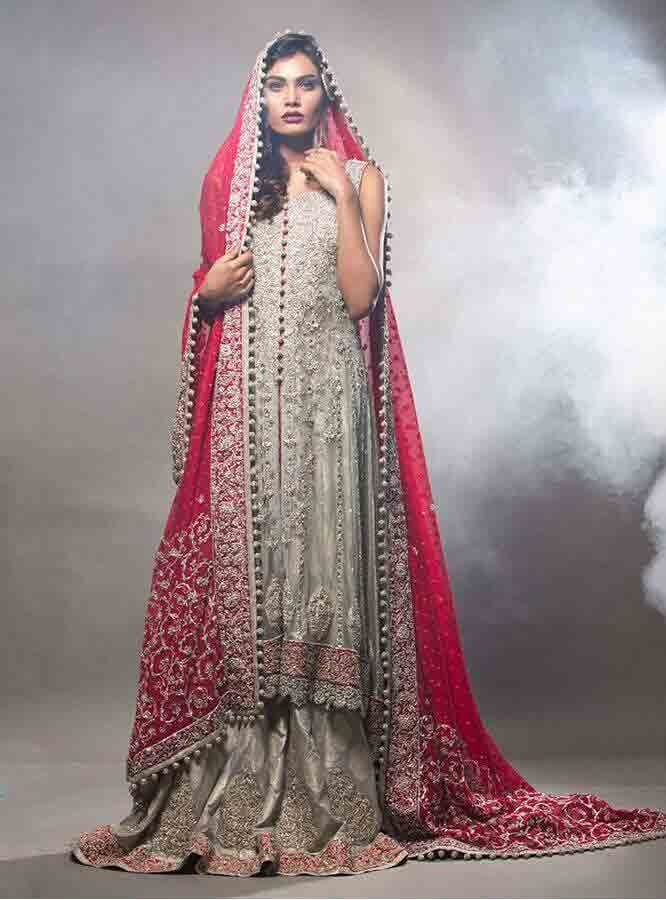 307ff173a14 Gray Pakistani bridal long tail maxi gown dress designs 2017 with red  dupatta