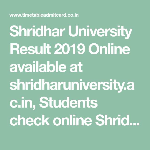 Shridhar University Result 2019 Online available at