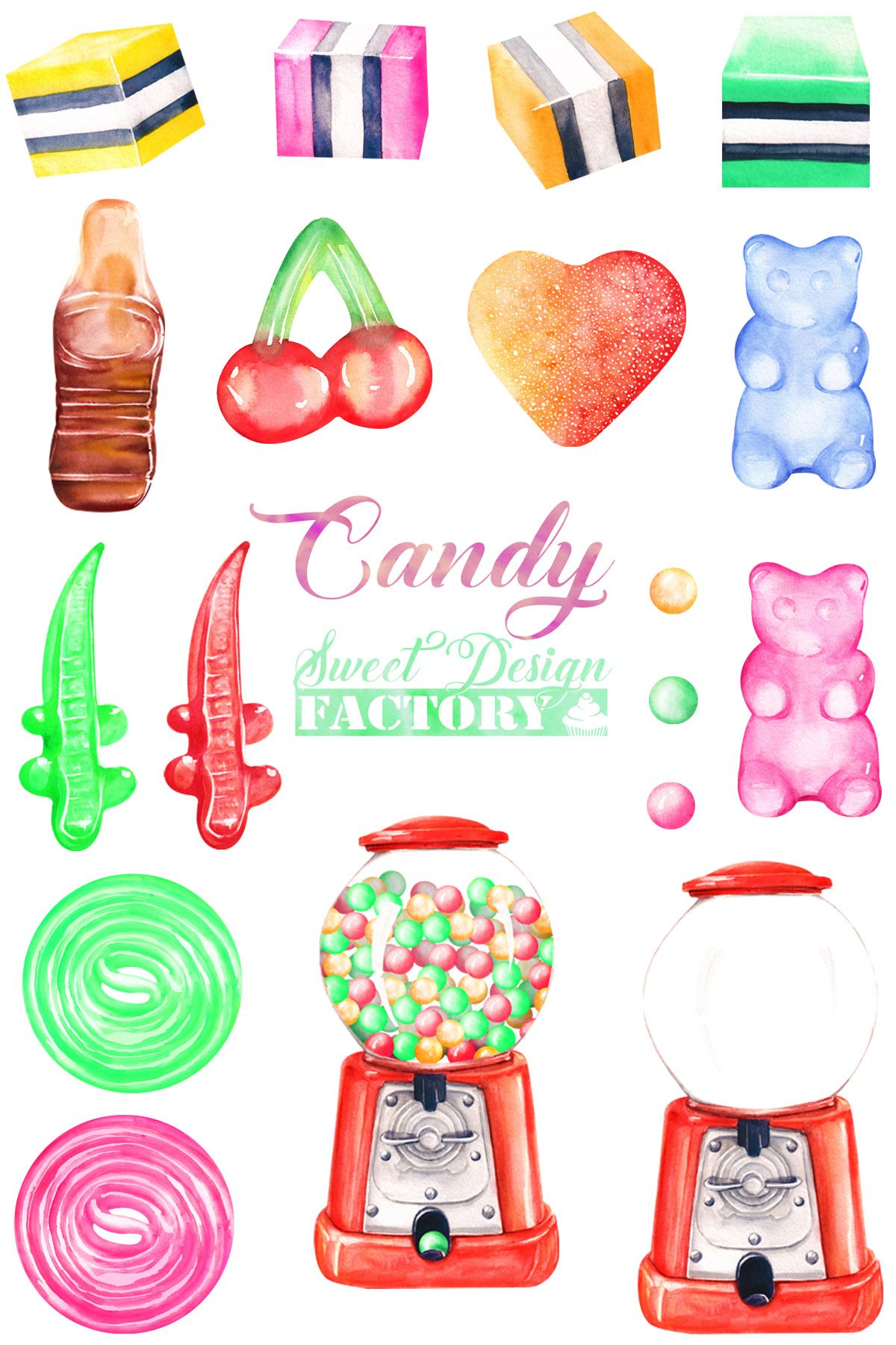 Candy Clipart Watercolor Clip Art Jelly Clipart Candy
