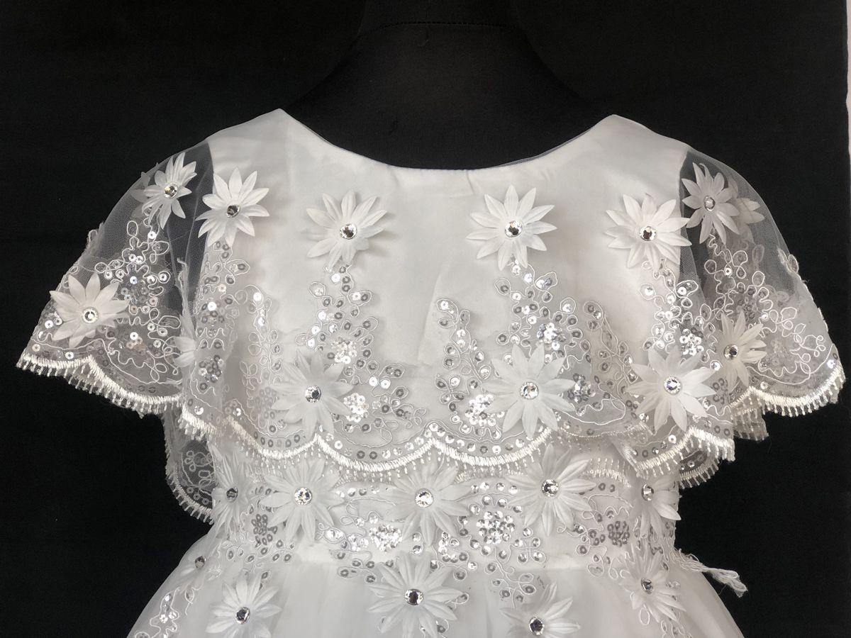 b6dc4db6e67 Πανέμορφο Φόρεμα, Σπαστό, Λευκό, με Δαντέλα και Κρύσταλλα για Παρανυφάκι,  Πάρτι, Εκδήλωση