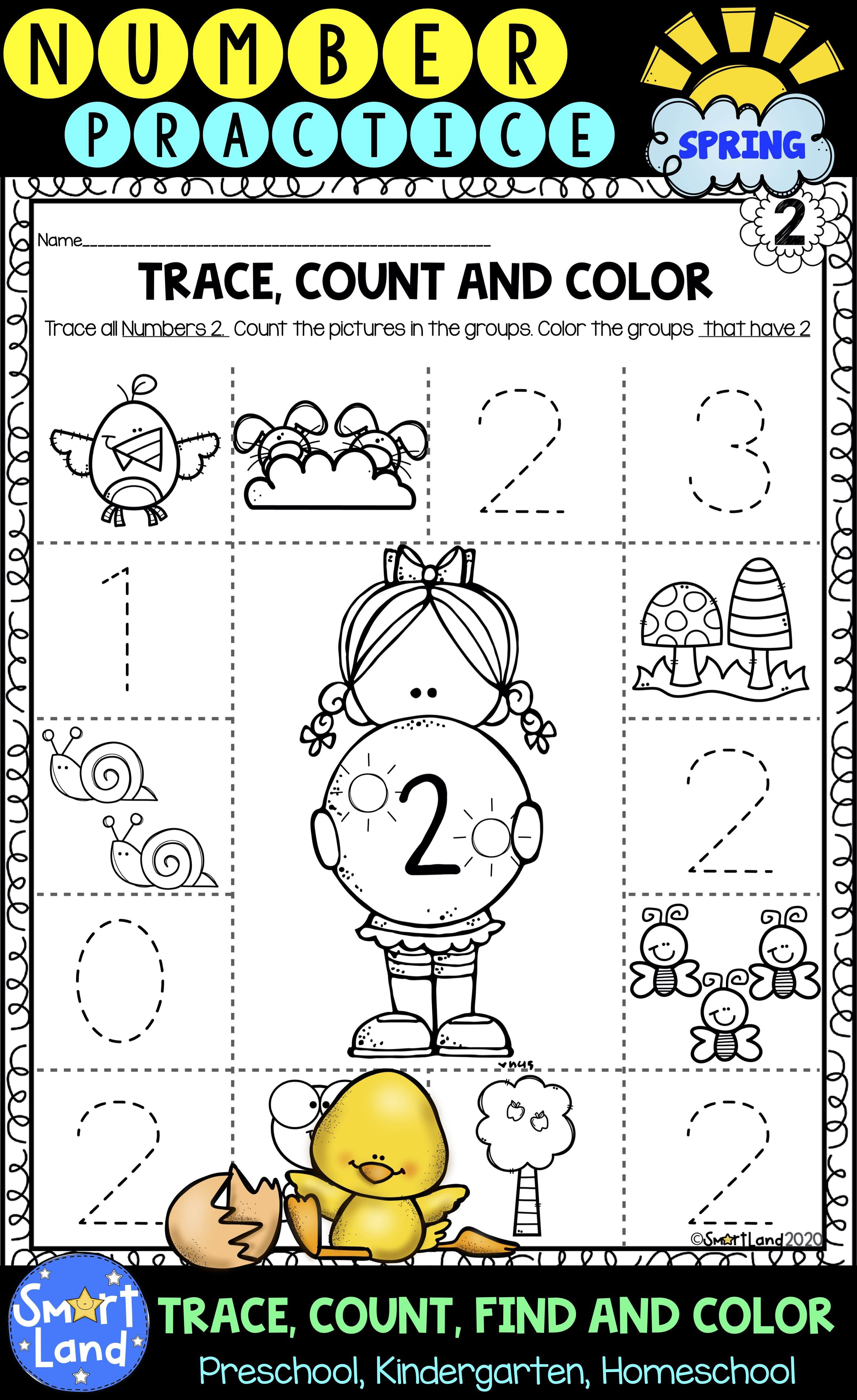 Number Practice 1 10 Trace Find Color Spring In