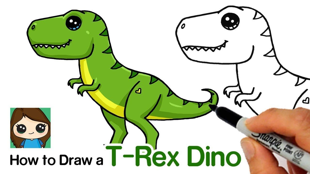 How To Draw A T Rex Dinosaur Easy Youtube Easy Dinosaur Drawing Dinosaur Drawing T Rex Cartoon