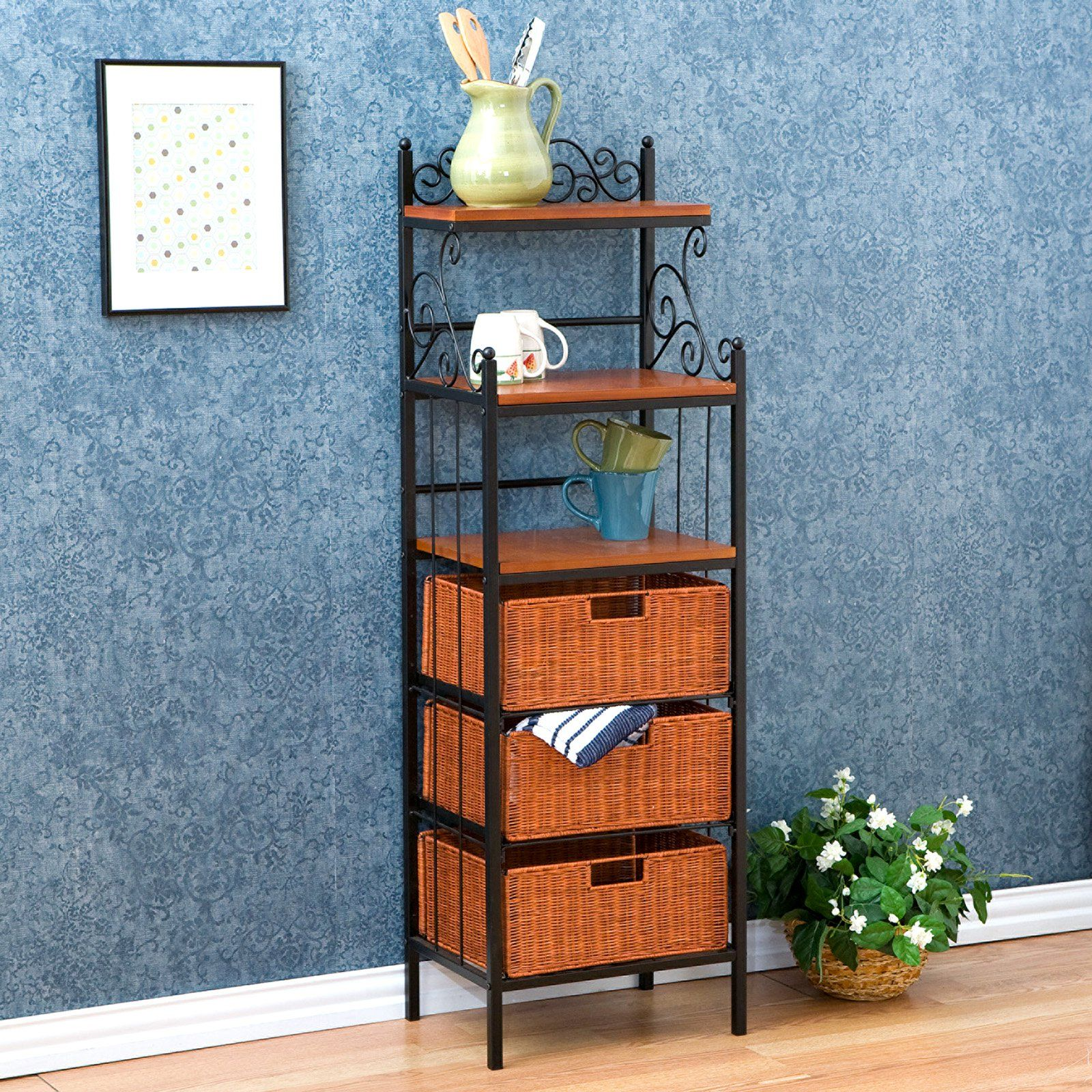 Southern Enterprises Manilla 3 Drawer Rattan Bakers Rack With