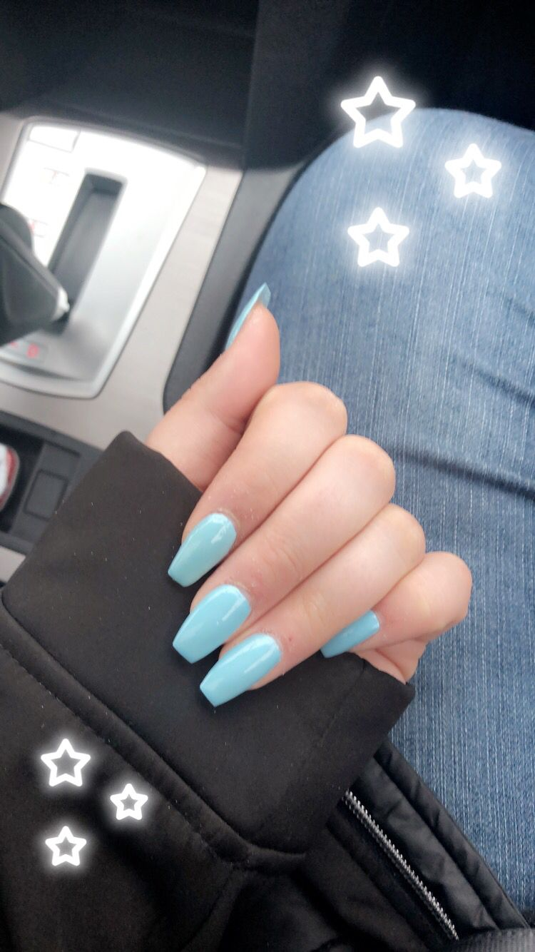 Roseindierays Simple Acrylic Nails Blue Gel Nails Colored Acrylic Nails