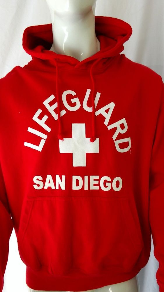 f8b9aeff333 San Diego Lifeguard Hoodie Sweatshirt XL Red Cotton Blend Life Guard  California