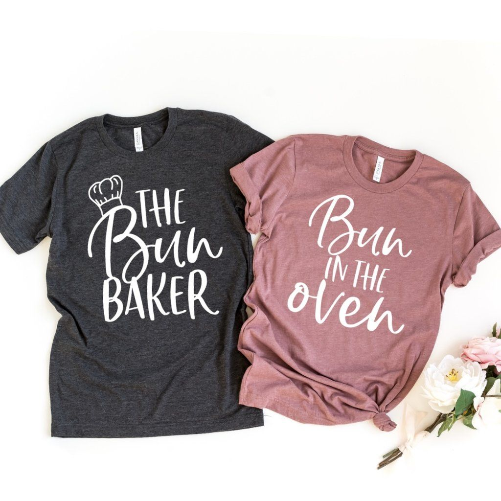 6ee9bd1877be6 Bun in the Oven and The Bun Baker | Sold Individually, pregnancy  announcement shirts, couples pregnancy announcement shirts, his and her pregnancy  shirts, ...