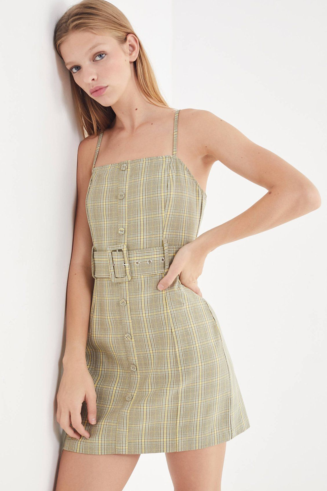 3575a4a04178 UO Belted Gingham Button-Down Mini Dress