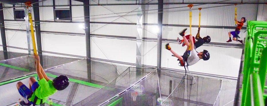 Indoor trampoline park zipline park zipcity indoor