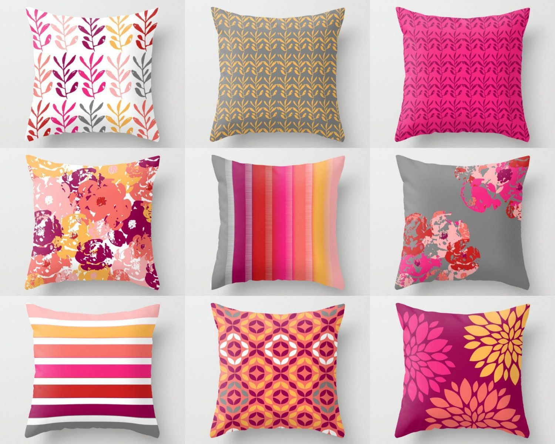 Throw Pillows, Pillow Covers, Hot Pink Fuchsia Orange Red Grey Pink, Sofa  Pillow