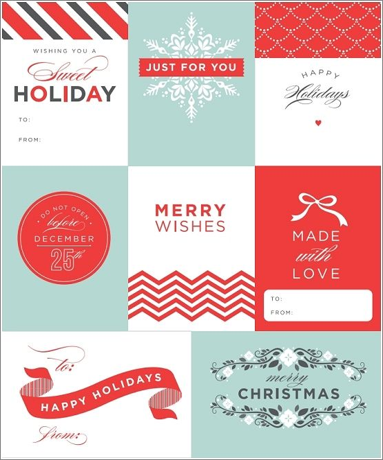 Modern free Christmas holiday gift tag printables! Love the fonts ...