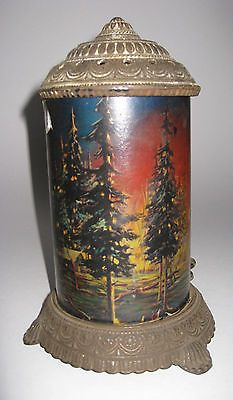 Antique Cast Iron Scene In Action Motion Lamp Forest Fire