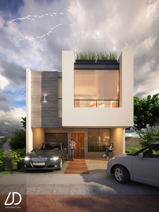 Fachadas De Casa House Elevation Modern Compact Pinterest