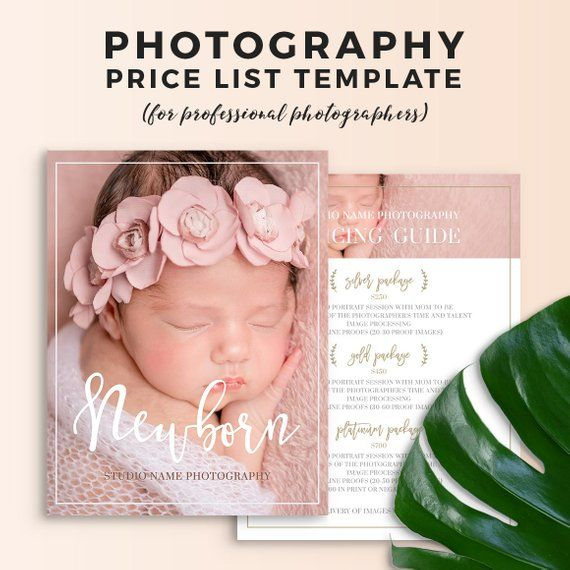 Newborn Photography Price List Template - Newborn Photography - Price Sheet Template
