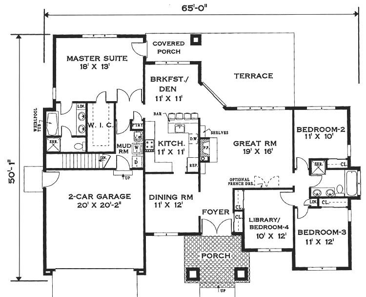 Elegant One Story Home 6994 4 Bedrooms And 2 5 Baths The House Designers One Floor House Plans House Floor Plans House Plans One Story