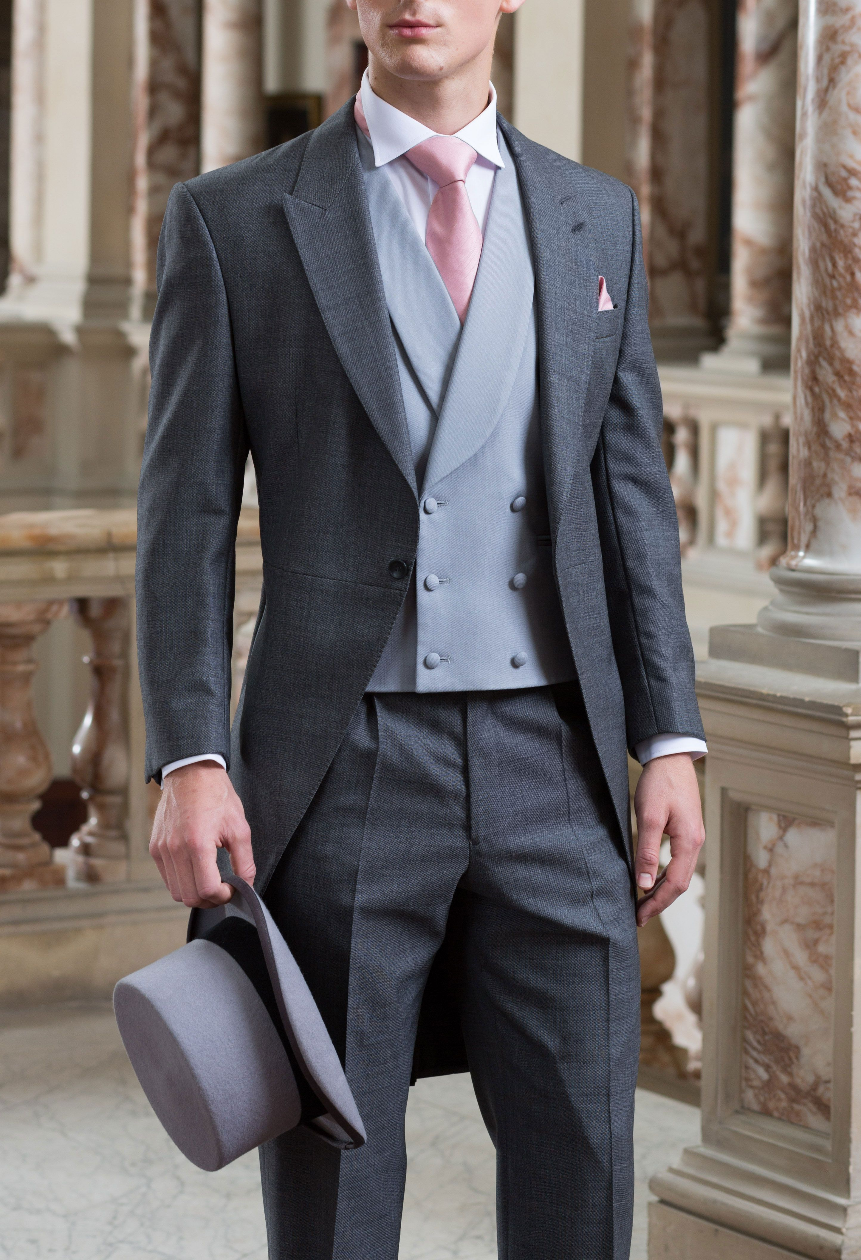 Top Hat and Grey Tailcoat with pale pink accessories from