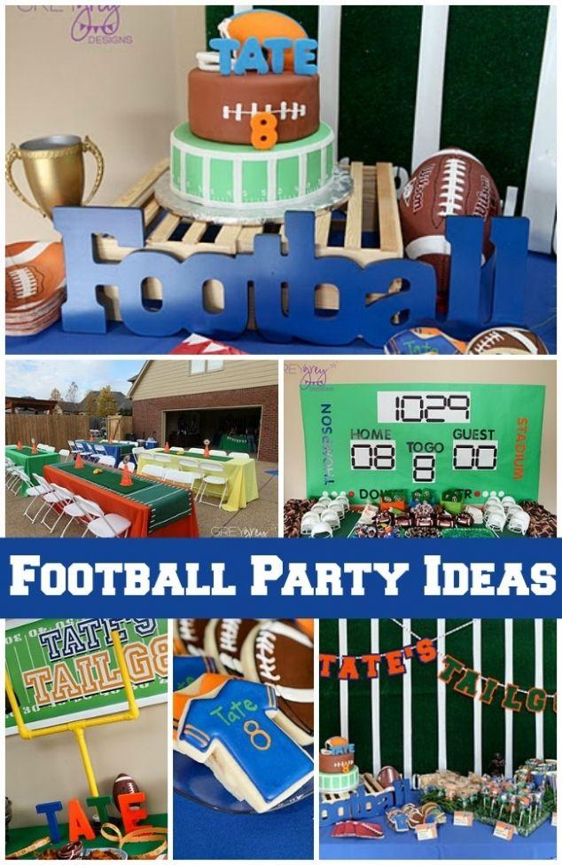 Football Themed Boy 8th Birthday Party Birthdayparty Footballtheme