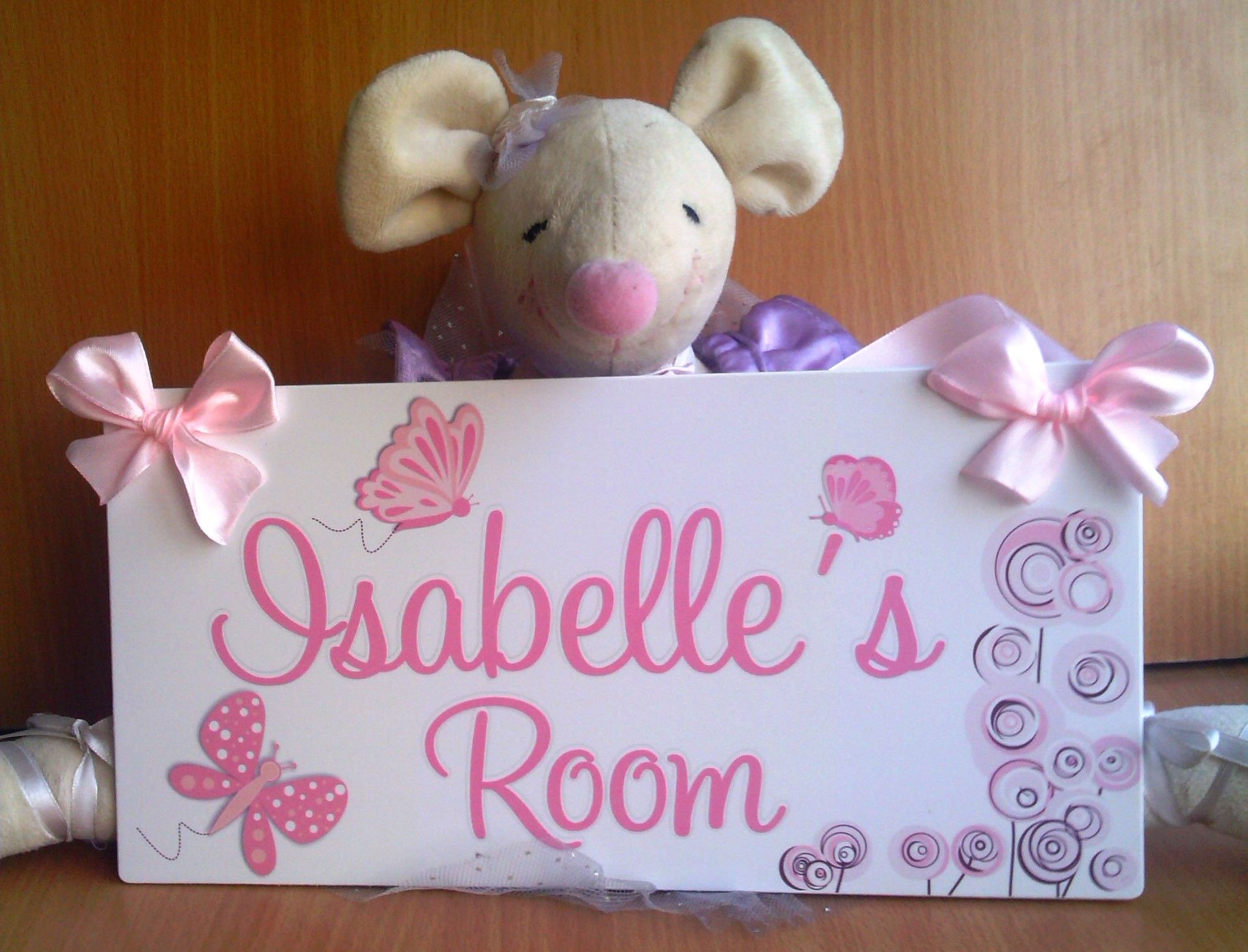 Ligh pink and white personalized butterflies themed personalized