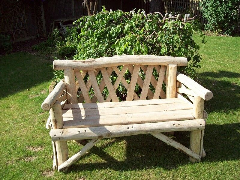 Awesome Details About Two Seat Rustic Garden Bench Handmade From Ncnpc Chair Design For Home Ncnpcorg