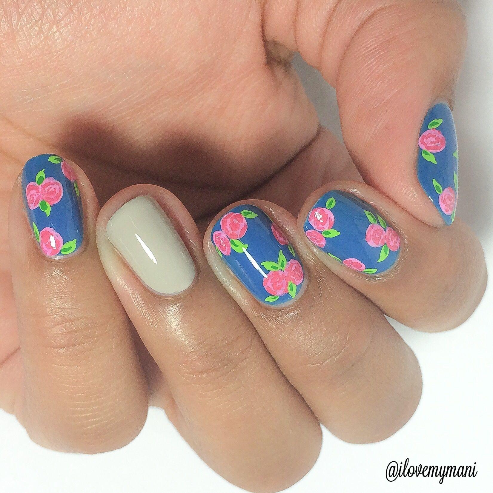 Fun floral nails using China Glaze License & Registration Pls ...