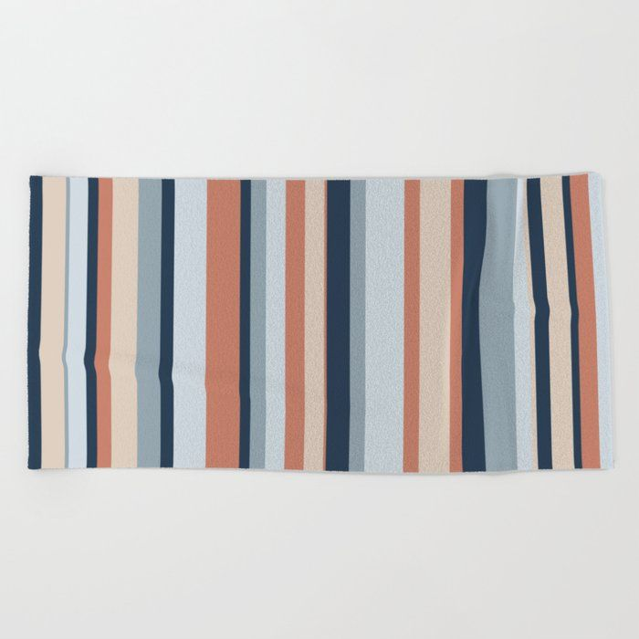 Stripe Pattern In Blue Coral And Putty Beach Towel By