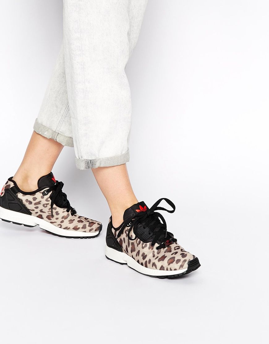 43f7625ddc6 adidas Brown ZX Flux Animal Print Sneakers