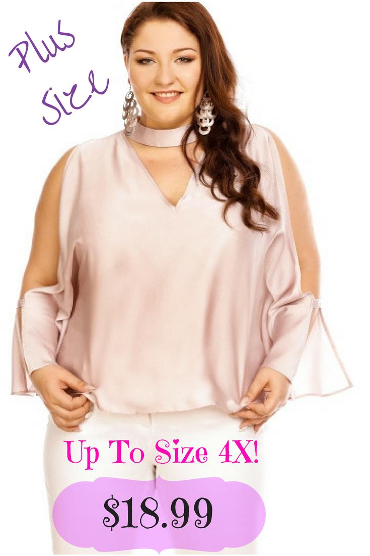 gorgeous plus size choker keyhole blouse top! fashionista, cheap